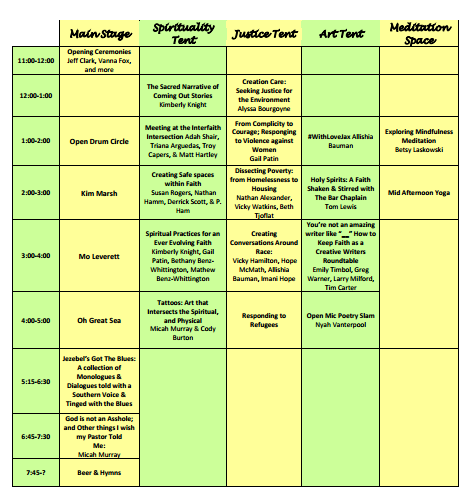 Intersections schedule of events with times snipped for website